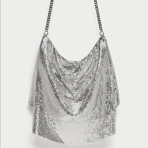 ZARA Silver Metal Mesh Cross Body Bag
